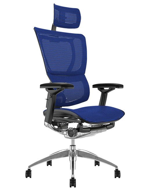 Mirus Office Chair Blue Mesh with Head Rest