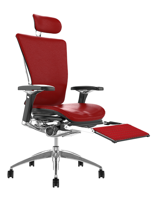 Nefil Red Leather Office Chair with Leg Rest